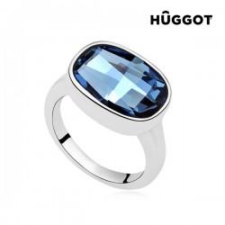 Δαχτυλίδι με επίστρωση Ροδίου και Κρύσταλλα Swarovski®  I´m Blue Hûggot