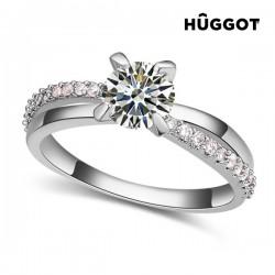 Δαχτυλίδι με επίστρωση Ροδίου και Ζιργκόν You & Me Hûggot