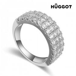 Δαχτυλίδι με επίστρωση Ροδίου και Ζιργκόν Queen Hûggot