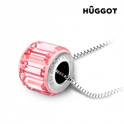 Κολιέ με επίστρωση Ροδίου και Κρύσταλλα Swarovski® Pink Wheel Hûggot (45 εκ.)