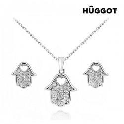 Σετ με επίστρωση Ροδίου: Κολιέ και σκουλαρίκια με Ζιργκόν House Hûggot (45 εκ.)