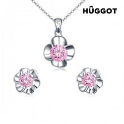 Σετ με επίστρωση Ροδίου: Κολιέ και Σκουλαρίκια με Ζιργκόν Pink Flower Hûggot (45 εκ.)