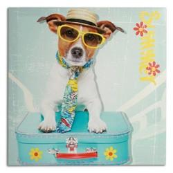 Πίνακας Σκύλος με Βαλίτσα 40 x 40 cm