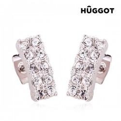 Σκουλαρίκια με επίστρωση Ροδίου και Ζιργκόν Ribbon Hûggot