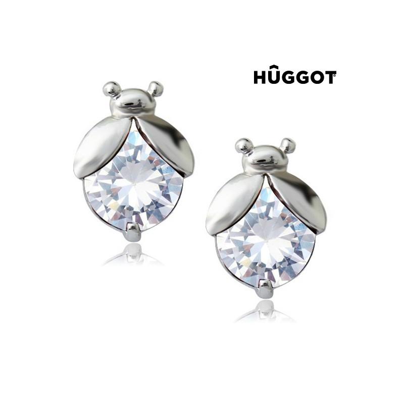 Σκουλαρίκια με επίστρωση Ροδίου και Ζιργκόν Ladybug Hûggot 7d891194f81