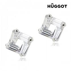 Σκουλαρίκια με επίστρωση Ροδίου και Ζιργκόν Ice Hûggot
