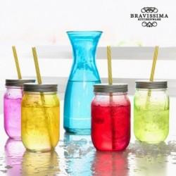 Μπουκάλι με 4 Γυάλινα Βάζα Vintage Colors