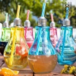 Πολύχρωμα Ποτήρια Λάμπα με Καλαμάκια Wagon Trend 400 ml (πακέτο με 6)