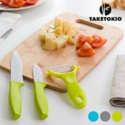 Κεραμικά Μαχαίρια με Σανίδα από Μπαμπού TakeTokio (4 τεμάχια)