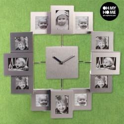 Ρολόι Τοίχου 12 Κορνίζες Αλουμινίου