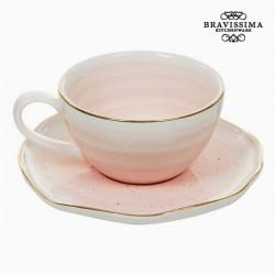 Κούπα με Πιατάκι Πορσελάνη Ροζ - Queen Kitchen Συλλογή by Bravissima Kitchen