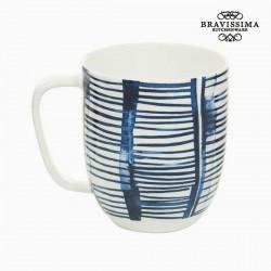 Cup Πορσελάνη Ρίγες Λευκό - Kitchen's Deco Συλλογή by Bravissima Kitchen