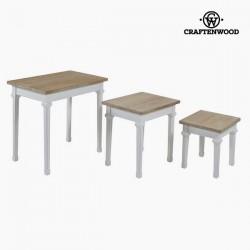 Σετ με 3 τραπέζια Ξυλο παουλόβνια Dm by Craftenwood