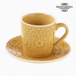 Κούπα με Πιατάκι Πορσελάνη Κίτρινο by Bravissima Kitchen