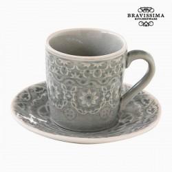 Κούπα με Πιατάκι Πορσελάνη Γκρι by Bravissima Kitchen