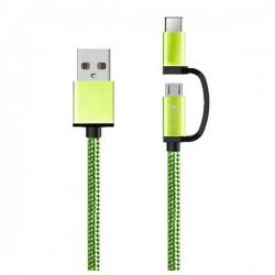 Καλώδιο USB σε Micro USB και USB C Ref. 101134 Πράσινο