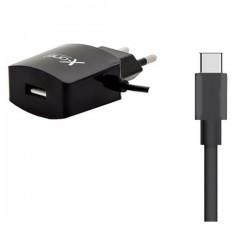 Φορτιστής Τοίχου Ref. 137737 USB 2.1 Μαύρο