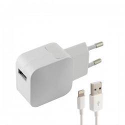 Φορτιστής Τοίχου +Καλώδιο Lightning MFI KSIX USB 1 m 100-240 V 5 V 2,4 A Λευκό