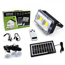 Τηλεχειριζόμενο Ηλιακό Σύστημα Φωτισμού & Φόρτισης με Πάνελ 3,5W, Μπαταρία, Φωτιστικό – Προβολέα 400LM + 3 Λάμπες LED 150 Lumens