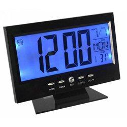 Ρολόι Με Ξυπνητήρι, Αισθητήρα Ήχου, LCD Οθόνη, Θερμοκρασία Voice Control Back-Light LCD Clock – OEM DS-8082