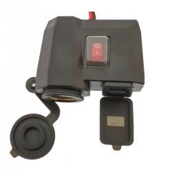 Αδιάβροχος Φορτιστής Με 2x USB, Αναπτήρα 12V & Βολτόμετρο Μηχανής – Μοτοσυκλέτας – OEM