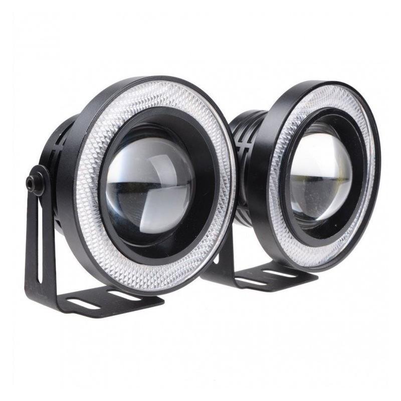 Προβολάκια Ομίχλης – LED COB DRL 64mm – Φώτα Ημέρας Αυτοκινήτου – ANGEL EYES R500