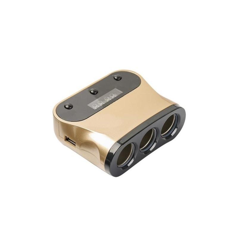 Φορτιστής Αυτοκινήτου με 3 Υποδοχές & 2 θύρες USB 120W – OEM 1505A