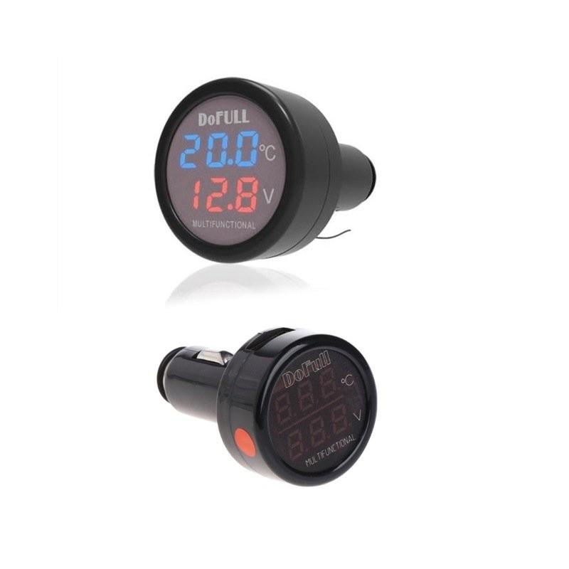 Ψηφιακό Θερμόμετρο & Βολτόμετρο Αναπτήρα Αυτοκινήτου με Φορτιστή USB – OEM DoFull