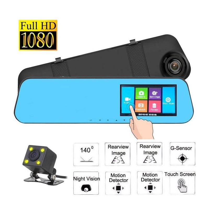 Καθρέπτης Αυτοκινήτου με Οθόνη Αφής LCD 4,3» – Κάμερα Full HD DVR & Κάμερα Οπισθοπορείας – OEM
