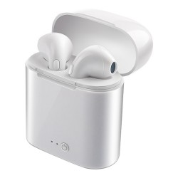 i7S TWS Earphones Dual Wireless Bluetooth Earbuds for Phone, Tablet, PC, Laptop - White