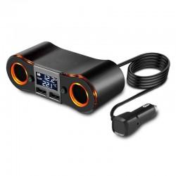 Διπλός Φορτιστής Αυτοκινήτου - 2 θύρες USB και αναπτήρα - Βολτόμετρο - Θερμόμετρο ZNB02