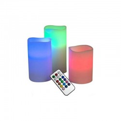 LED Κεριά Παραφίνης με Άρωμα Βανίλιας Σετ 3τμχ με Τηλεχειριστήριο