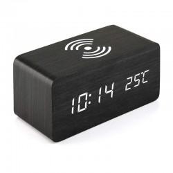 LED ξύλινο ψηφιακό ρολόι με ασύρματη φόρτιση Qi